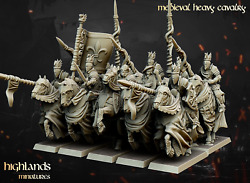 Heavy Cavalry Knights X10 - Medieval Knights Highlands Miniatures 32mm Scale