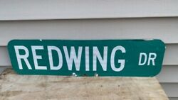 Vintage Redwing Double Sided 24 Street Sign Stoneware Pottery Detroit Boots