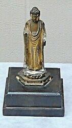 Antique 18c Japanese Large Gilt Lacquered Standing Buddha Statue 9.5h X 6wx 6