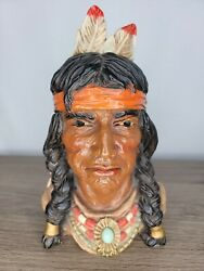 Vintage Bookend Bust Indian Chief Universal Statuary Corp Chicago 1966 320