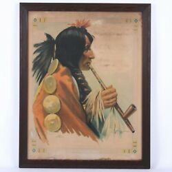 Early 20th Century Native American Chief Color Lithograph 26 3/4 X 20 1/2