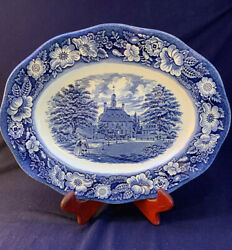 Liberty Blue Staffordshire England 12 Oval Platter Governors House Williamsburg