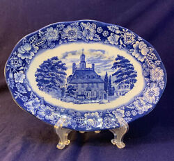Liberty Blue Staffordshire England 7-7/8 Platter Governors House Williamsburg