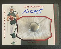 2018 National Treasures Sam Darnold Hats Off Rookie Auto Rc Hat Button Ssp 3/3