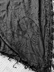 As Is Antique Black Silk Embroidered Gothic Victorian 1800and039s Mourning Cape Coat