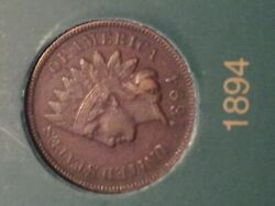 1894 Indian Head 1 Cent Penny Semi Key Date Coin