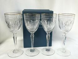 Four Waterford Hanover Gold Tall Goblets 8 1/2 Tall Discontinued-original Box
