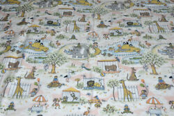 Vintage / Old Little Flat Sheet Of Child Bed / Zoo / Animals Pattern