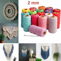 Colorful Thread Cord Handmade Craft 2mm 100m Diy Beige Twisted Cotton Twine Rope