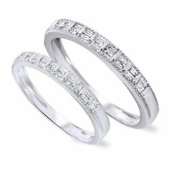 1/2 Ct Diamond His And Hers Wedding Band Set 9k Solid White Gold Igi Certified