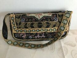 VINTAGE CHRISTIANA COLORFUL BEADED SMALL BAG WITH SHOULDER STRAP $75.00