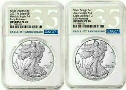 American Eagle 2021 Silver Reverse Proof Designer Edition 2 Coins Ngc Pf70 Pre