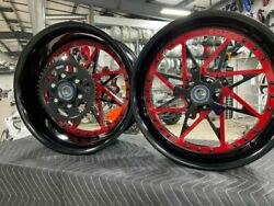 Yamaha R6 Stock Size Black With Red Center Wheel Package 2004-2008 Yamaha R6