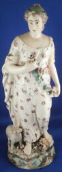 Antique 18thc Cambrian Pottery Lady Figurine Gallois Pays De Galles Pearlware