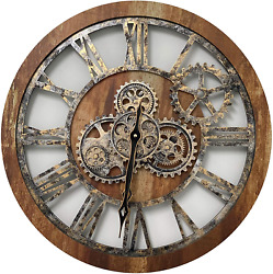 Improvinglife 24'' Inch Real Moving Gear Wall Clock Vintage Industrial Oversized