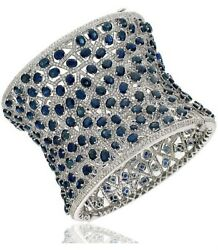 Exclusive Broad Bangle Bracelet Solid 925 Sterling Silver Blue Oval White Round
