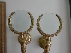 Vintage Set Of Art Deco Magnifying Glass Fluted Brass Wreath Candle Wall Sconces