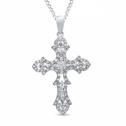 1/3 Ct Real Diamond Cross Pendant In 9k White Gold With 18 Chain Necklace -igi