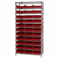 Wire Shelving With 33 4h Plastic Shelf Bins Red, 36x18x74