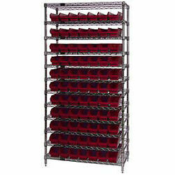 Wire Shelving With 77 4h Plastic Shelf Bins Red, 36x18x74