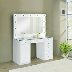 Modern Vanity Set Makeup Table And Stool Hollywood Mirror Clear Glass Top - White