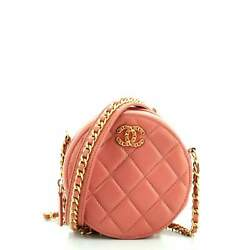 Chain Infinity Round Clutch With Chain Quilted Lambskin