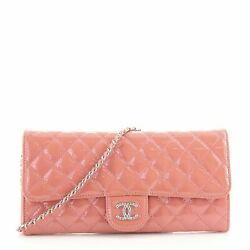 Brilliant Wallet On Chain Clutch Quilted Patent East West