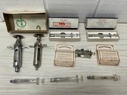 Vintage Lot Glass And Metal Hypodermic Syringes Yale Multifit B-d 1950s