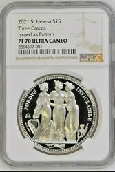 2021 St. Helena S£5 | Three Graces Crown Pattern | 1oz Silver Coin | Ngc Pf70 Uc