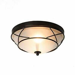 Loclgpm Farmhouse Black Finished Flush Mounted Glass Ceiling Light Fixture In...