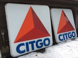 2 - 7 Ft X 7ft Vintage Heavy Plastic Citgo Gas Station Signs