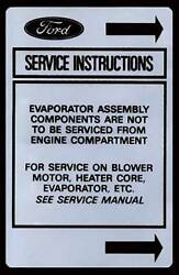 Macs Auto Parts Ford Pickup Truck Heater Decal - Air Service Instrument
