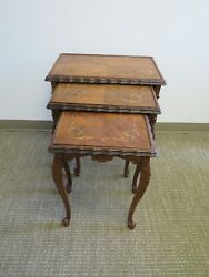 Antique Hand Carved And Hand Inlaid Set Of Queen Anne Leg Nesting Tables