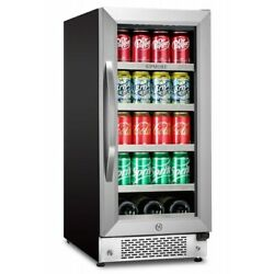 Sipmore Beverage Refrigerator 15 Inch Stainless Steel Shelf 88 Can And 3 Bottle