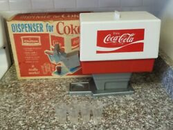 Early 1960's Chilton Toy Coke Dispenser With Box And 4 Glasses
