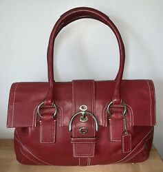 GENUINE COACH RED LEATHER SATCHEL BAG $42.99