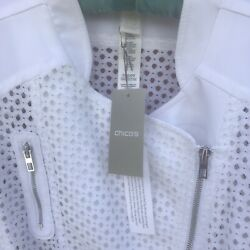 Chico's White Jacket, Part Solid, Part Diamond Mesh With Zippers