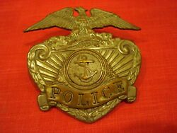 Obsolete Vintage Police Hat Badge With Fouled Anchor Emblem Military / Navy