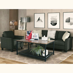 Trustmade Coffee Table With Steel Frame And Storage 42x24x18