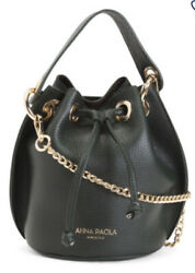 ANNA PAOLA Leather Chain Strap Crossbody Black Bag MADE IN ITALY $57.99