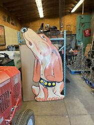 Antique Porcelain Movable Hush Puppy Pound Dog Sign 35 X 80 Advertising
