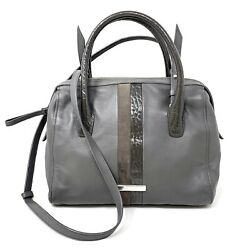 Cole Haan Striped Gray Pebbled Leather Suede Satchel Bag Crossbody Purse $50.00
