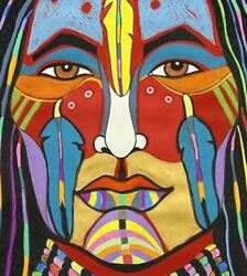3andrdquo Color Native American Face Paint Ceremony Heritage Tribal Art Bumper Sticker