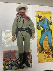 Vintage 1970s Hubley Gabriel Lone Ranger Figure With Comic And Flap Of Box.