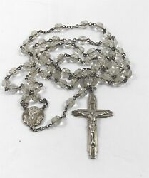 Vintage Sterling Silver Rosary With Clear Faceted Glass Beads
