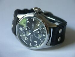 Big Pilot Automatic Black Dial Power Reserve Watch By Parnis