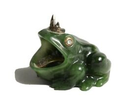 Russian Nephrite Jade Frog With Diamond Set Coronet, Eyes And Tongue