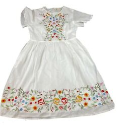 Roolee Size Small Women#x27;s White Embroidered Floral Cotton Dress $26.39
