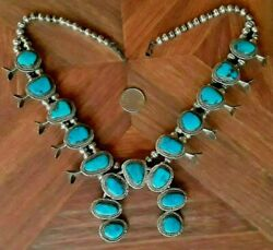 Vintage Navajo Indian Squash Blossom Necklace Turquoise Sterling Silver Big 190g