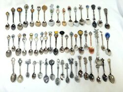 Lot Of 55 Collectible Assorted Souvenir Spoons Travel Us Canada Pewter Stainless